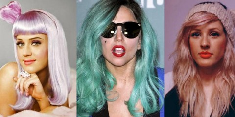 Katy Perry, Lady Gaga and Ellie Goulding in various pastel shades.