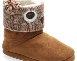 Knitted Owl Slipper Boots