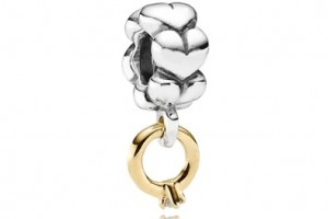 Pandora silver and gold dangle charm